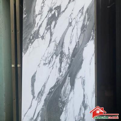 Mẫu gạch mới nhất 60x120 bóng kiếng trắng vân xám ốp lát phòng khách đẹp